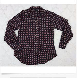 Halston Shirt Navy Blue Red Square Print Sz 8